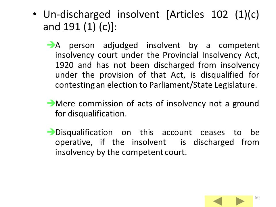 Un-discharged insolvent [Articles 102 (1)(c) and 191 (1) (c)]: